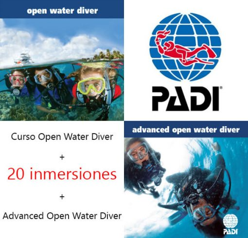 Open Water Diver + Advanced + 20 inmersiones